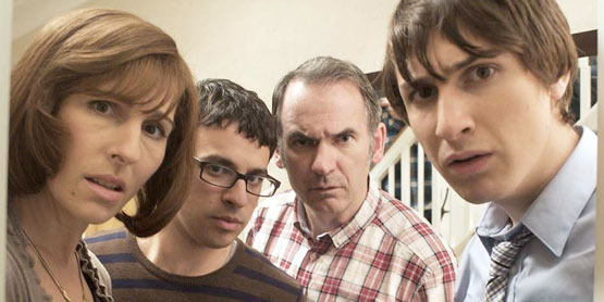 Cast of Friday Night Dinner: Tamsin Greig, Simon Bird, Paul Ritter and Tom Rosenthal