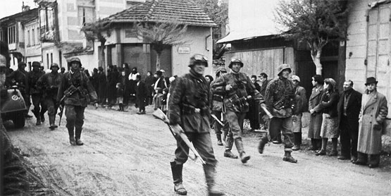 German troops occupy a Greek Village