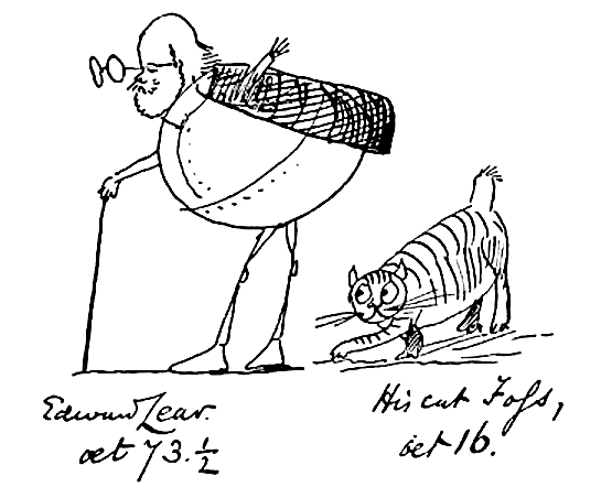 Edward Lear aged seventy three and a half and his cat Foss aged 16