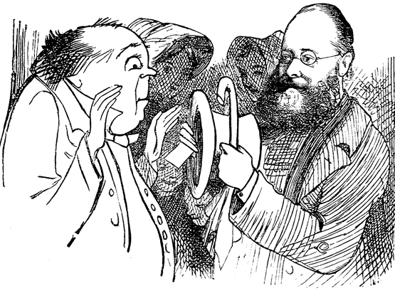 Lear showing a doubting stranger his name in his hat to prove that Edward Lear was a man and not merely a name. Drawn by Himself.