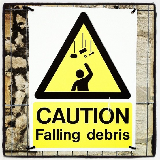 Sign: CAUTION Falling Debris